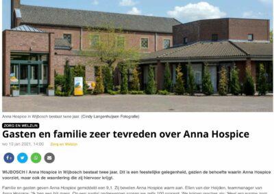 Gasten en familie Anna Hospice zijn zeer tevreden