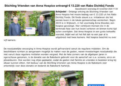 Rabo Dichtbij Fonds doneert € 13.220