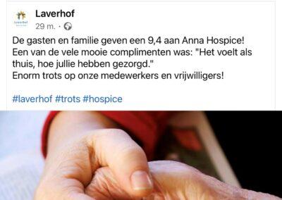 Gasten en familie geven Anna Hospice een 9,4